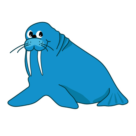 walrus: illustration of walrus blue on white background