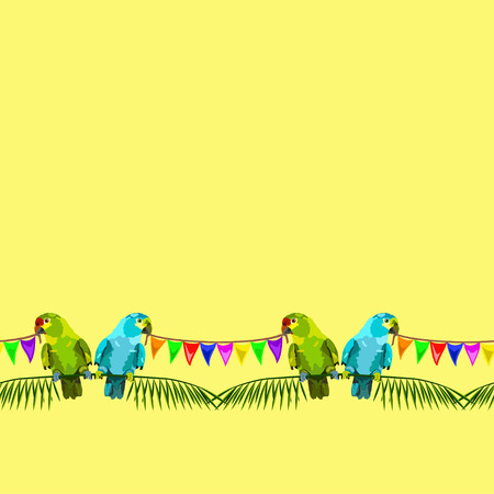varicolored: seamless pattern of two parrots with varicolored flags on yellow background Illustration