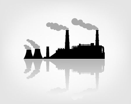 smokestack: factory silhouette on the white background