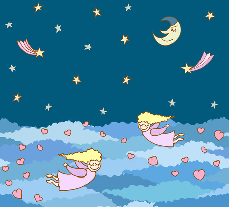 moon angels: seamless pattern made from little cartoon flying girl with hearts on night sky with stars and clouds