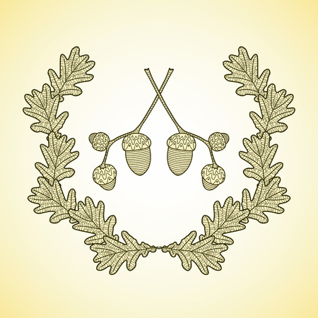 oak wreath: wreath of graphic oak leaves and acorn branches.