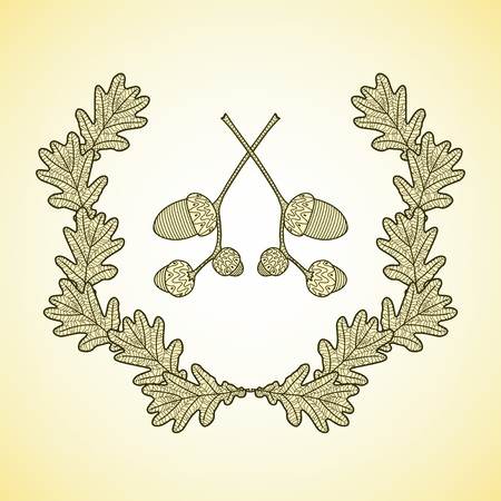 oak wreath: wreath of graphic oak leaves and acorn branches. Eps 10