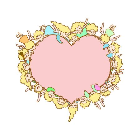 green day baby blue background: Card for Valentines Day. Flying angels and cupids around pink heart on white background