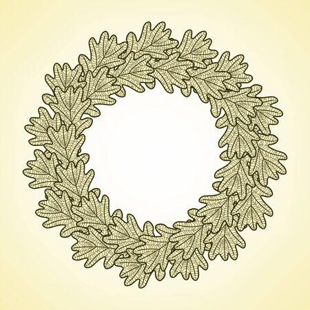 Ilustración marco de la ronda de las hojas de roble gráficas