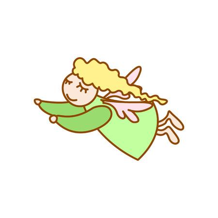 Ilustración de poco vuelo del ángel de dibujos animados sobre fondo blanco