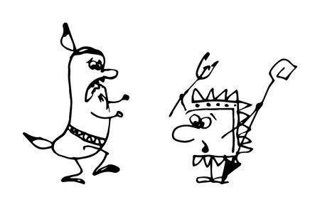 vector illustration of cartoon Indians