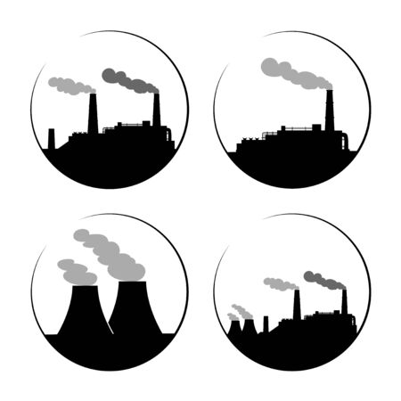 manufacturer: Set of industry manufacturer building icons. Plant and factory, power and smoke, oil and energy.