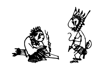illustration of cartoon Indians
