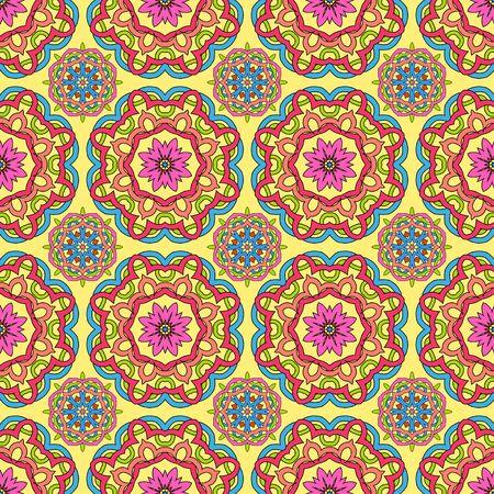 mandalas: seamless pattern made from abstract circle mandalas on orange background Illustration