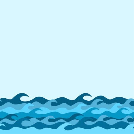 olas de mar: borde decorativo sin fisuras de las olas del mar