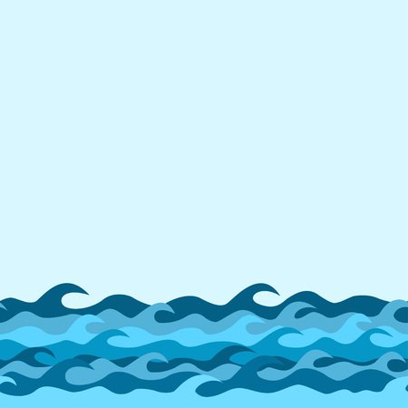 sea waves: seamless decorative border from sea waves