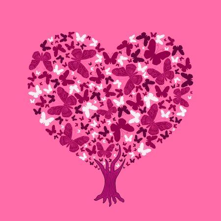 valentine tree: Love tree illustration. Valentine tree, leaf from butterflies
