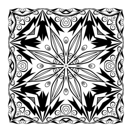 quadratic: Vector quadratic mandala. Ethnic decorative elements. Hand drawn background. Black and white ornament Illustration