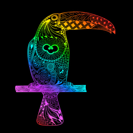 patterned: Patterned toucan drawing. Hand Drawn doodle toucan. Rainbow gradient toucan