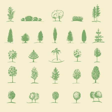 botanics: Set of hand drawn sketch trees