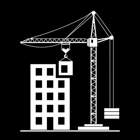 concep: Vector building Construction with Crane on White Background Illustration