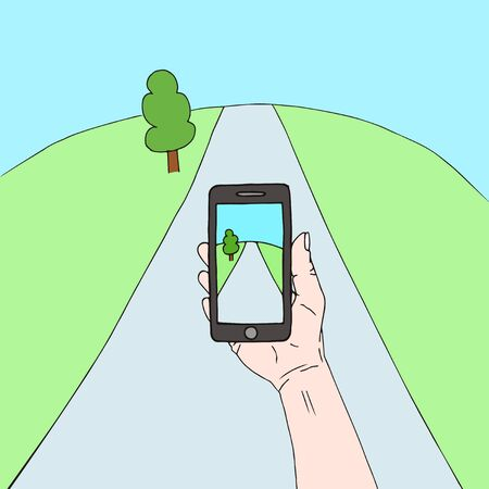 vector illustration of a hand holding a mobile phone with a landscape on the screen