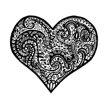 Vektorillustration des Handzeichnungsherzens. Karte für den Valentinstag. Symbol der Liebe. Vektor Herz in Zentangle Stil. Vektorgrafik