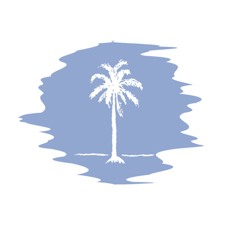 date palm: Hand drawing sketch of palm tree logotype. Vector palm tree on serenity blur background