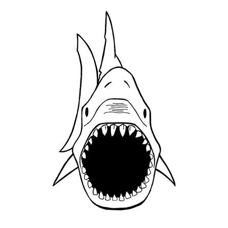 menacing: Vector illustration of shark silhouette. Vector shark top view.