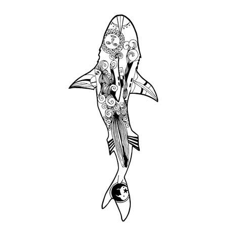 menacing: Vector illustration of zentangle shark. Vector coloring book shark top view.