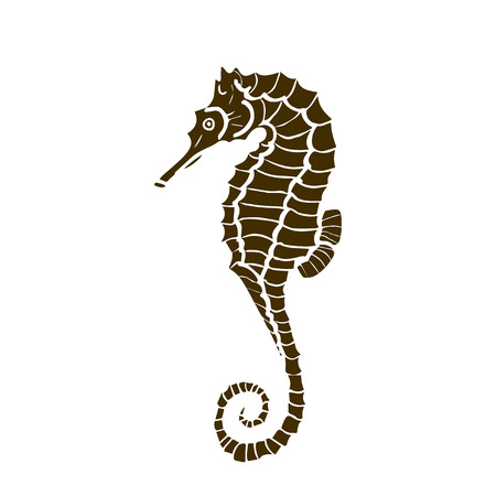 silhuette: vector illustration of silhuette of seahorse. Seahorse  made in one color under the stencil
