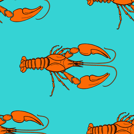 prognoses: seamless pattern made from orange cancer on blue background