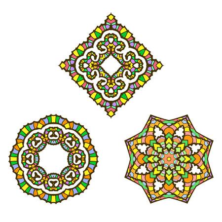 mandalas: Vector set from three mandalas. Vector mandalas. Ethnic decorative elements. Hand drawn mandalas. Illustration