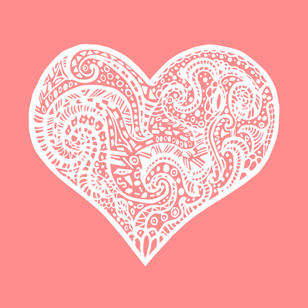 Vector Illustration Of White Hand Drawing Heart Card For Saint