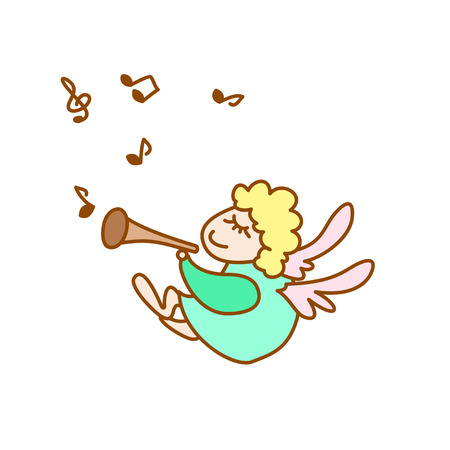 fife: illustration of the little flying angel with flute and note on a white background