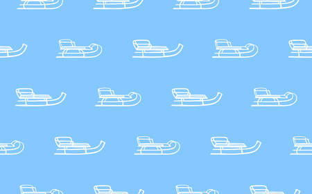 sleds: seamless pattern with white sleds on blue background