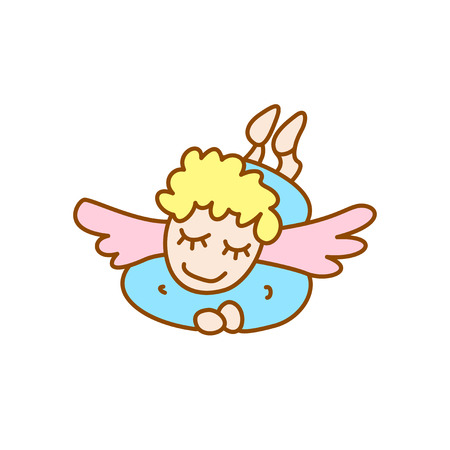 illustration of little flying angel on a white background