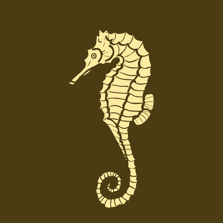 hippocampus: vector illustration silhouette of seahorse. Seahorse made in one color under the stencil. hippocampus