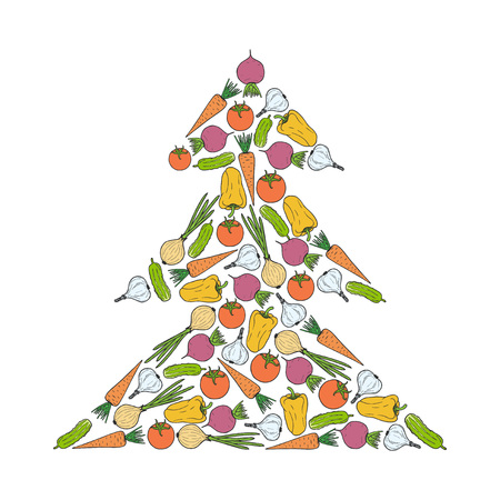 carrot tree: Vector vegetarian Christmas tree from vegetables - carrot, garlic, onion, tomato, beet, pepper, cucumber