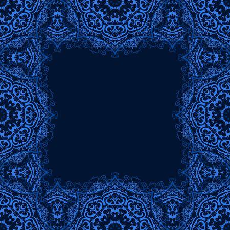 motivos navideños: Vector marco decorativo con espacio de copia. Capítulo hecho de los copos de nieve azules sobre fondo oscuro Vectores