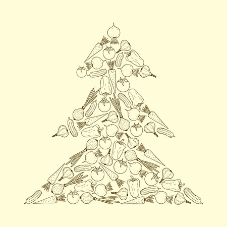 carrot tree: Vector vegetarian Christmas tree from vegetables - carrot, garlic, onion, tomato, beet, pepper, cucumber. Graphic Christmas tree Illustration
