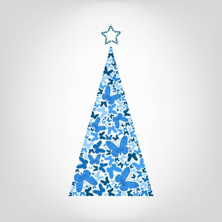 cypress tree: Vector Christmas tree from blue butterfly with star on the top. Greeting card for New Year, Christmas