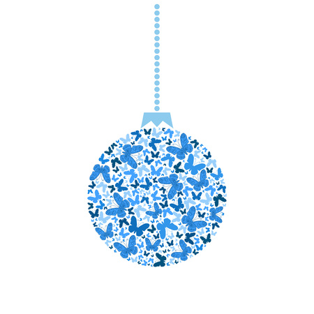 xmas card: Vector Christmas tree ball from blue butterflies
