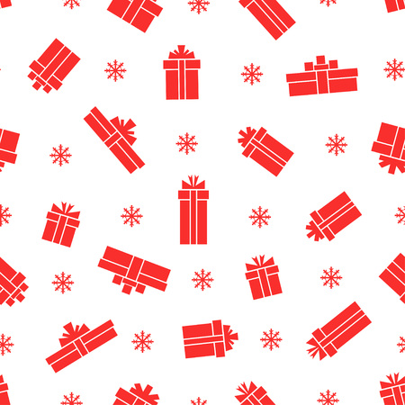 red gift box: Seamless gift box pattern, red gift boxes on white background