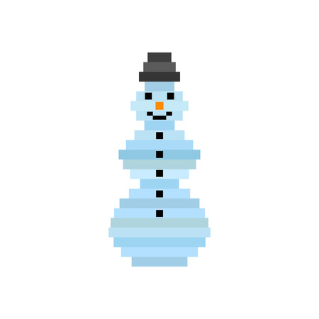 original single: pixel art snowman. Christmas background, greeting card for New Year