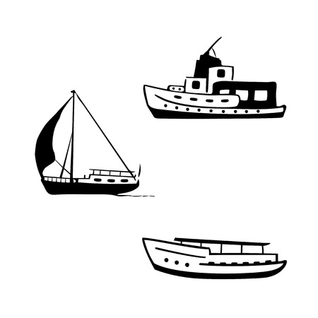 Ocean transport set. Sailing and motor boats, yacht, motor boat.