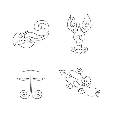 prognoses: line zodiac symbols set - Libra, Scorpio, Cancer, sagittarius Illustration