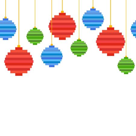 Seamless border from Pixel art Christmas tree ball. Flat design. Christmas background, greeting card for New Year with copy space