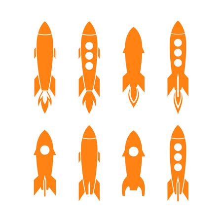 Rocket icon and rocket silhouette vector set. Icon design rocket, spaceships, rocket ship Vektorové ilustrace