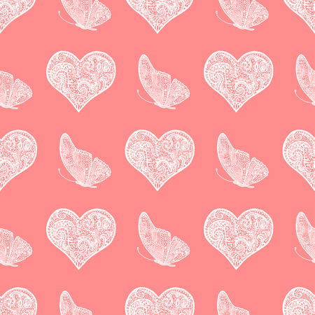 Seamless Pattern From White Hand Drawing Heart And Butterfly Background For Saint Valentine Day In