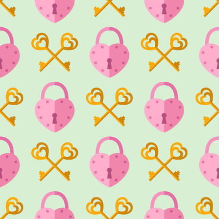 seamless pattern from padlock, key couple with heart shape. Vector background for Valentine day Illustration