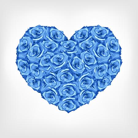 Ilustración del vector del corazón de rosa azul. Saludo de la tarjeta de invitación para el día de san Valentín, día de la boda