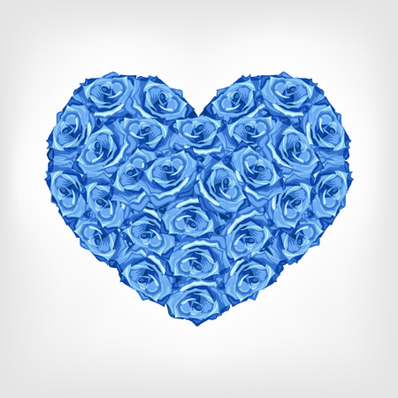 Vector illustration of heart from blue rose. Greeting invitation card for saint Valentine day, wedding day Illustration