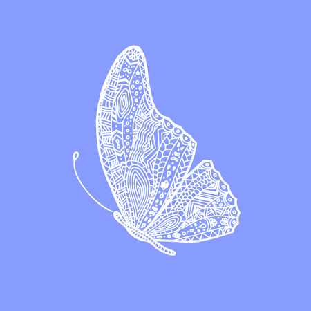 Vector White Hand Drawing Butterfly Illustration Of