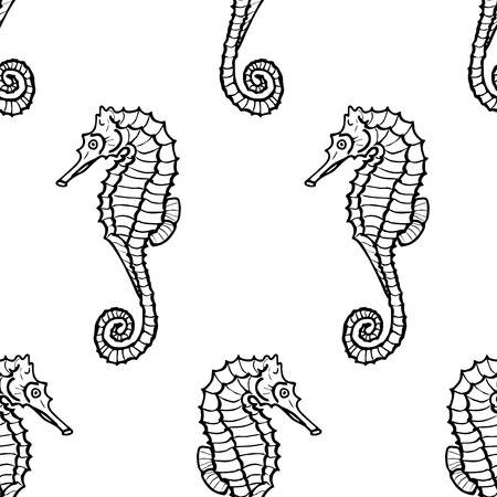hippocampus: seamless pattern from seahorse silhouette. Vector hippocampus Illustration